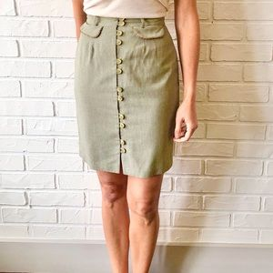 Vintage high waist button front fitted mini skirt